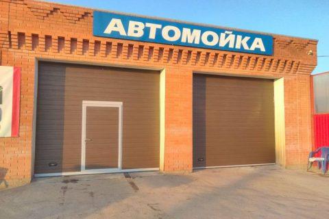 Установка секционных ворот для авто-мойки